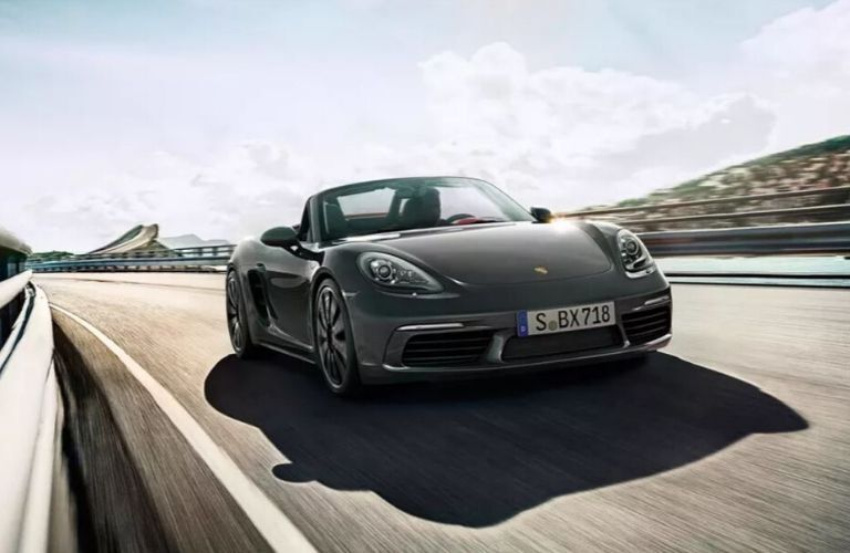 Exterior view of the front of a black 2020 Porsche 718 Boxster