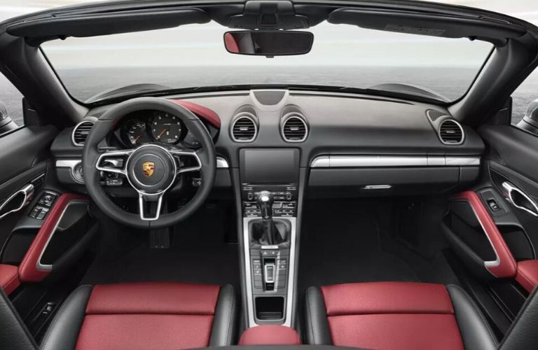 Interior view of the front seating area inside a 2020 Porsche 718 Boxster