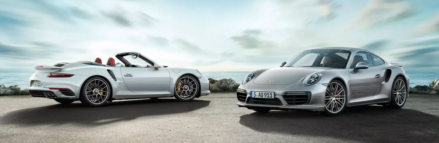 2020 Porsche 911 Turbo two model one rear facing one front facing