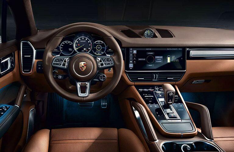 front interior of the 2020 Porsche Cayenne E-Hybrid