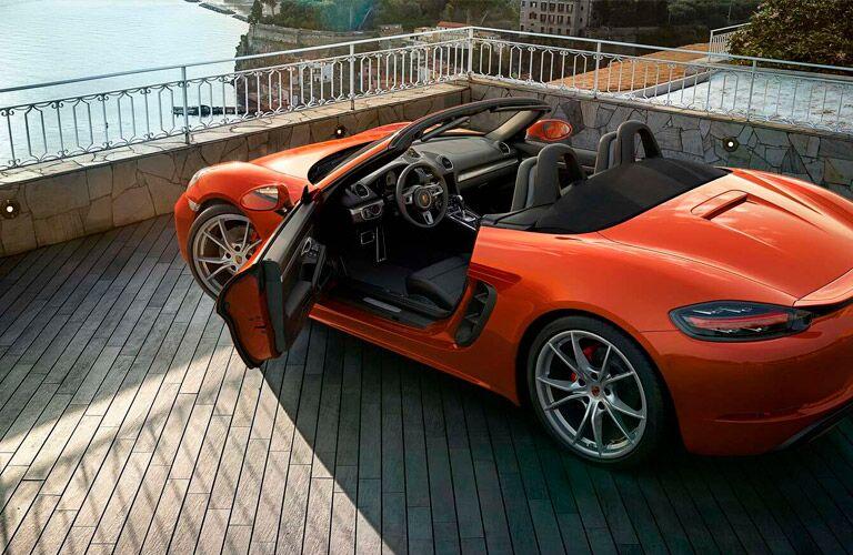 2021 Porsche Cayman convertible with driver door open