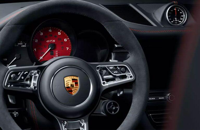 2021 Porsche Macan steering wheel close up