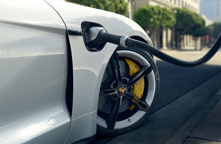 2021 Porsche Taycan getting charged