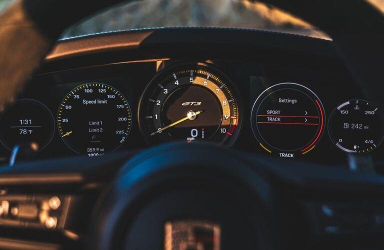 2022 Porsche 911 GT3 gauges behind the steering wheel