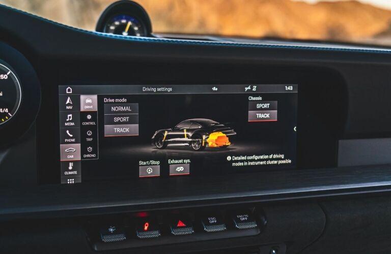 2022 Porsche 911 GT3 screen in the dashboard