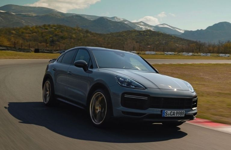2022 Porsche Cayenne Turbo GT front look on road