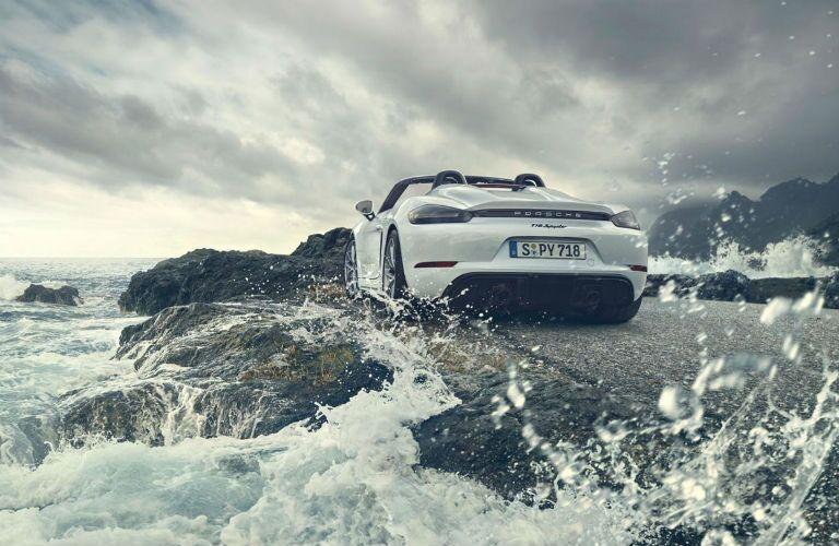 2020 Porsche 718 Spyder parked near a body of water