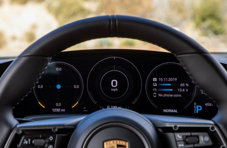 A photo of the gauge cluster in the 2021 Porsche Taycan.