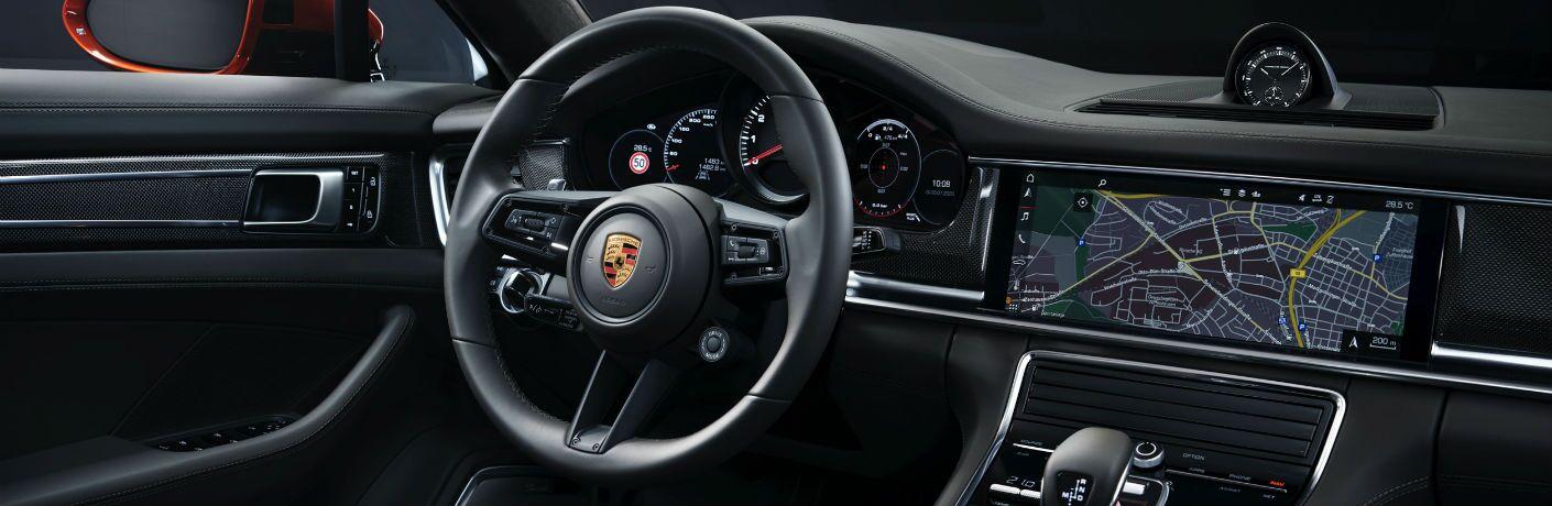 A photo of the driver's cockpit in the 2021 Porsche Panamera.