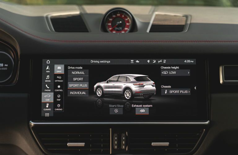 A photo of the touchscreen interface in the 2021 Porsche Cayenne GTS.