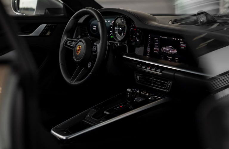 A photo of the driver's cockpit in the 2021 Porsche 911 Turbo S.