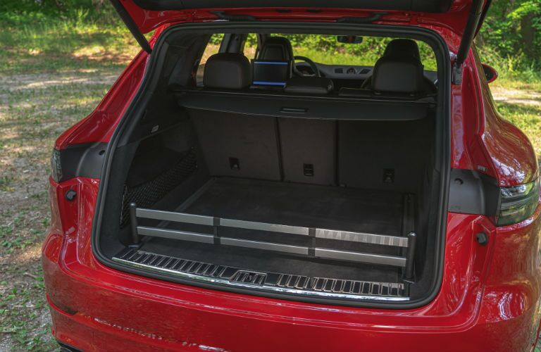 A photo of the cargo area in the 2021 Porsche Cayenne GTS.