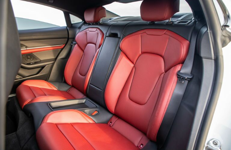 A photo of the back seat in the 2021 Porsche Taycan.