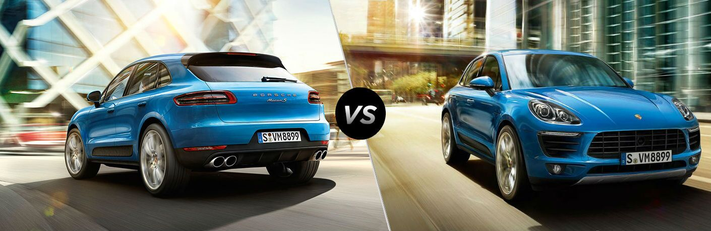 Blue 2019 Porsche Macan and blue 2018 Porsche Macan