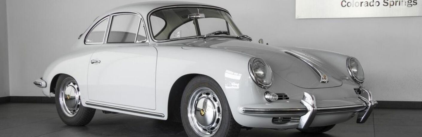 Grey 1964 Porsche 356 C Front and Side Exterior in Porsche of Colorado Springs Showroom