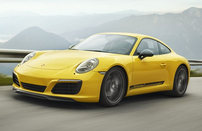 Yellow 2019 Porsche 911 Carrera on a Highway
