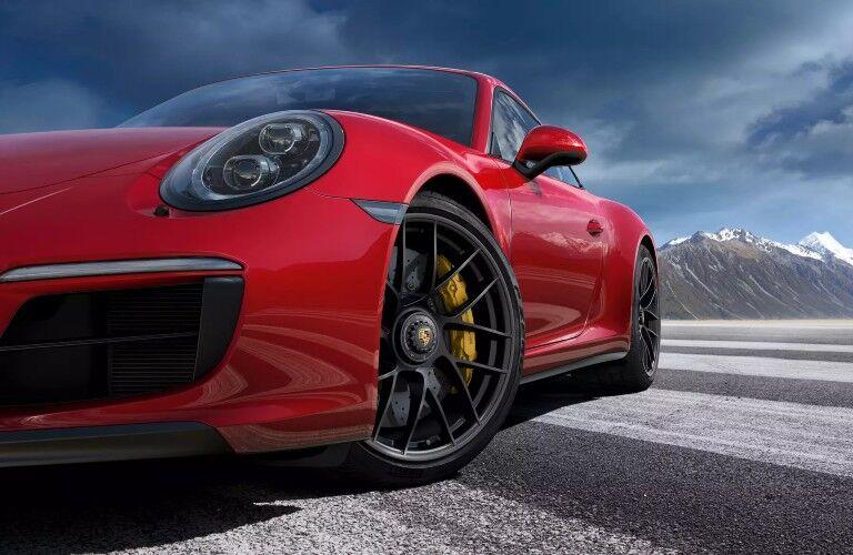 Closeup of red 2020 Porsche 911 Carrera GTS
