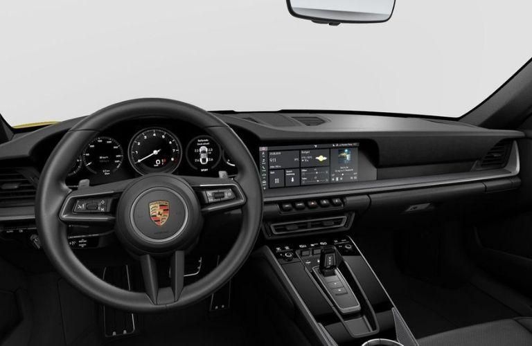 2020 Porsche 911 Carrera dashboard and steering wheel