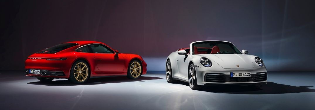 2020 Porsche 911 in red and white