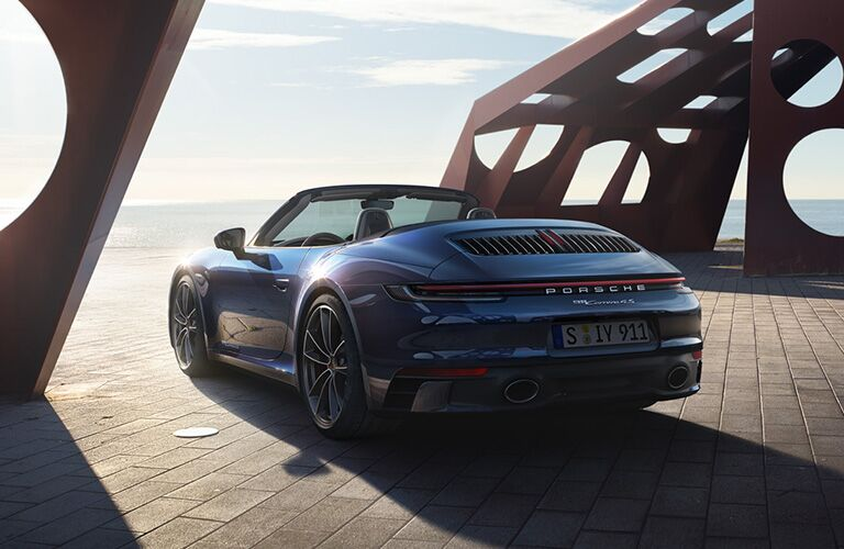 2020 Porsche 911 by water viewed from rear