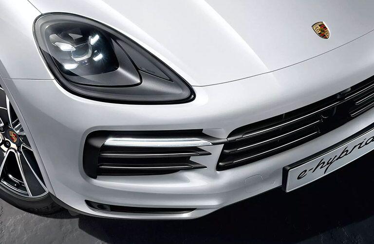 Closeup of headlight on 2020 Porsche Cayenne