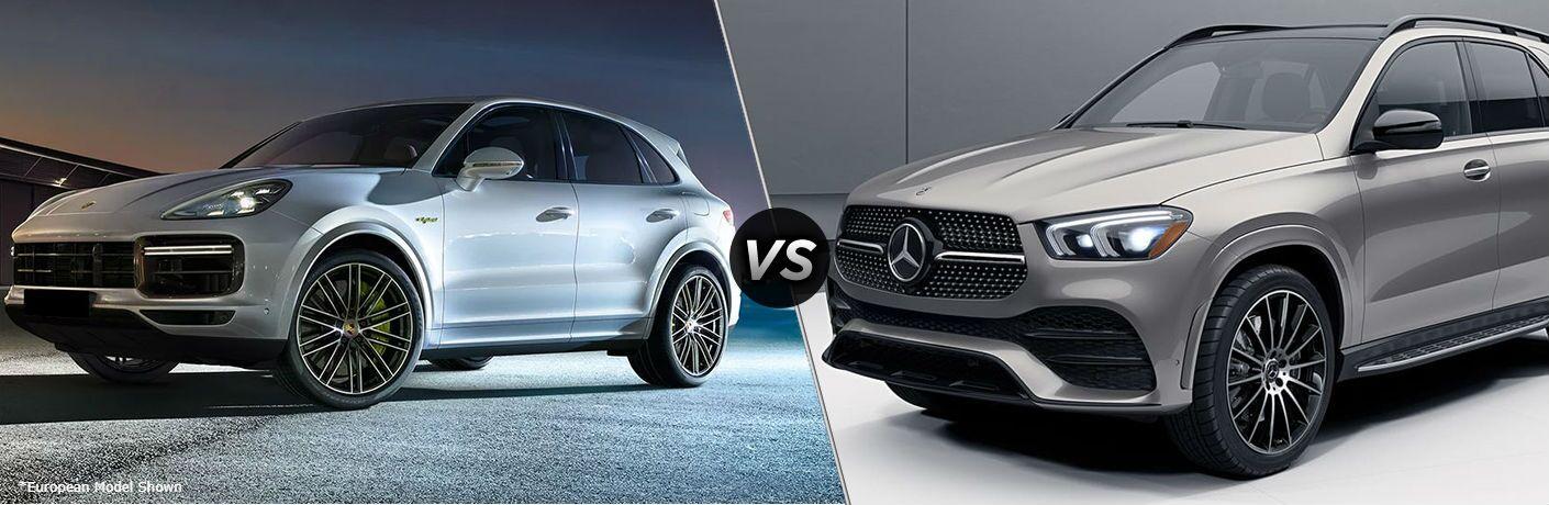 Silver European 2020 Porsche Cayenne and grey 2020 Mercedes-Benz GLE SUV