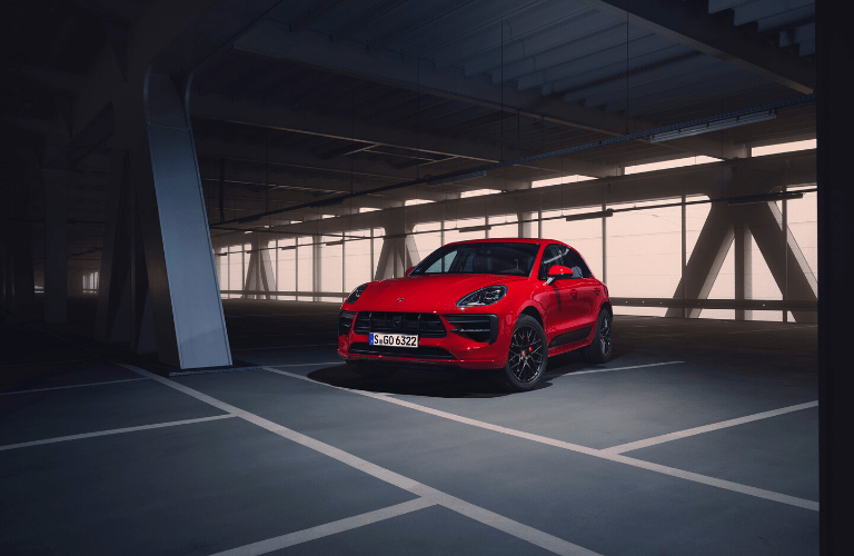 Front view of red 2020 Porsche Macan GTS