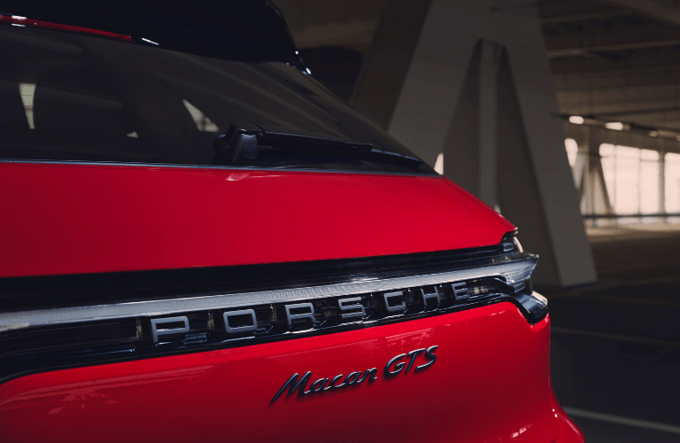 Closeup of rear badging on 2020 Porsche Macan GTS