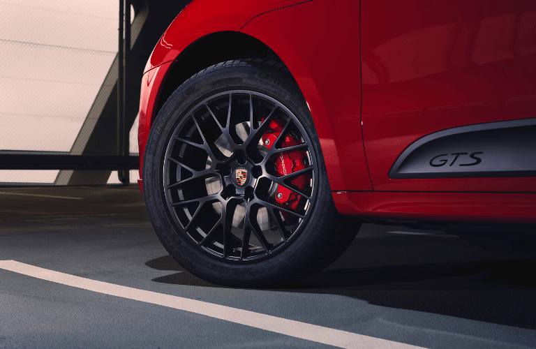 Closeup of wheel on 2020 Porsche Macan GTS