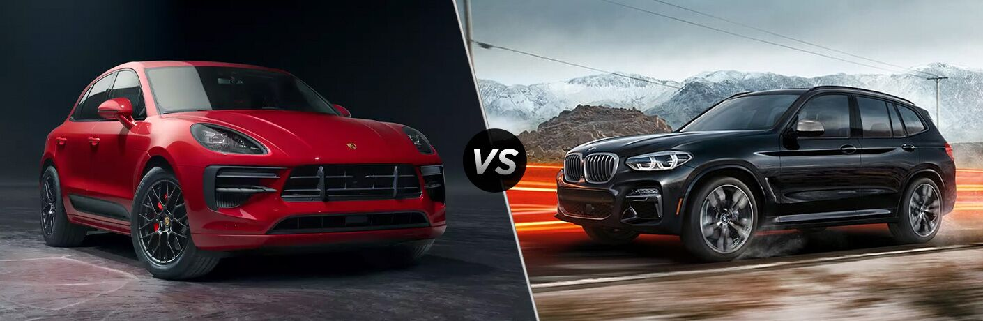 Red 2020 Porsche Macan and black 2020 BMW X3