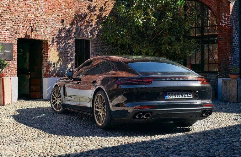 Rear view of black 2020 Porsche Panamera