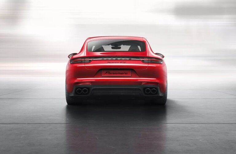 Rear view of red 2020 Porsche Panamera GTS