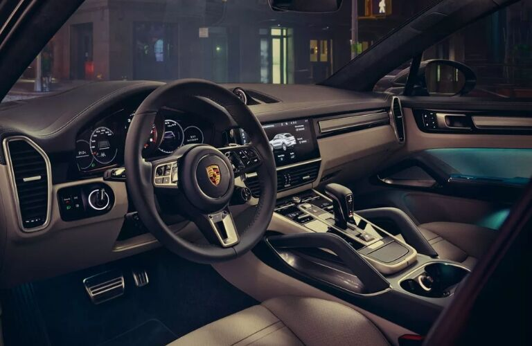 2020 Porsche Cayenne Coupe dashboard, steering wheel and front seats
