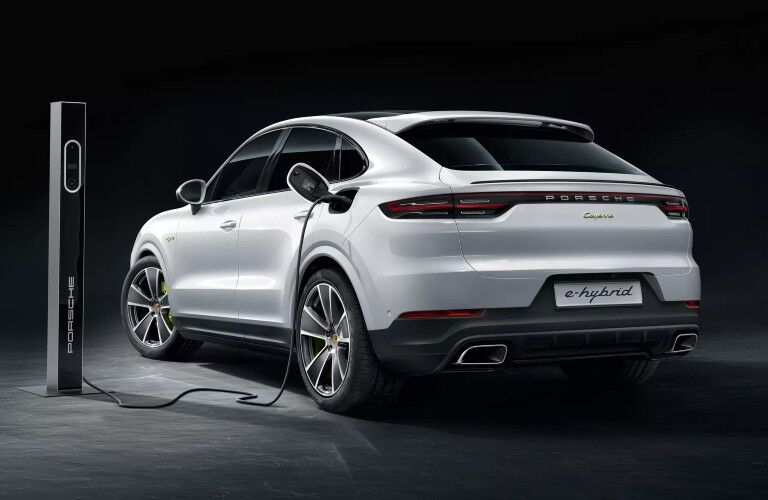White 2020 Porsche Cayenne Coupe charging