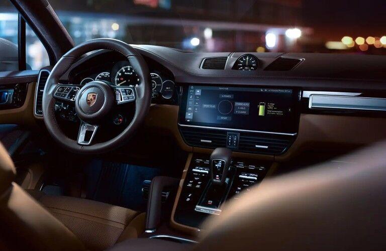 2020 Porsche Cayenne interior view over front passenger shoulder
