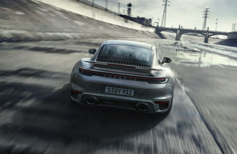 Rear view of 2021 Porsche 911 Turbo S