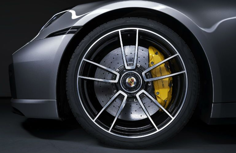 Closeup of wheel on 2021 Porsche Turbo S
