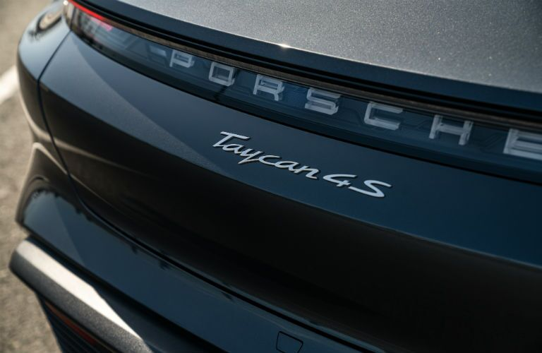 Closeup of badging on 2021 Porsche Taycan 4S