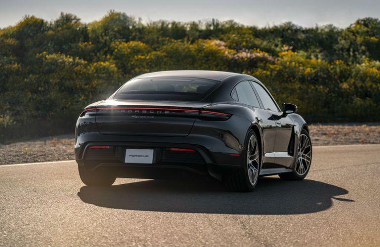 Rear view of black 2021 Porsche Taycan