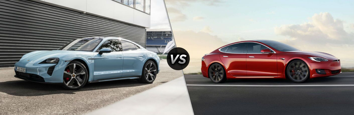2021 Porsche Taycan vs red 2021 Tesla Model S