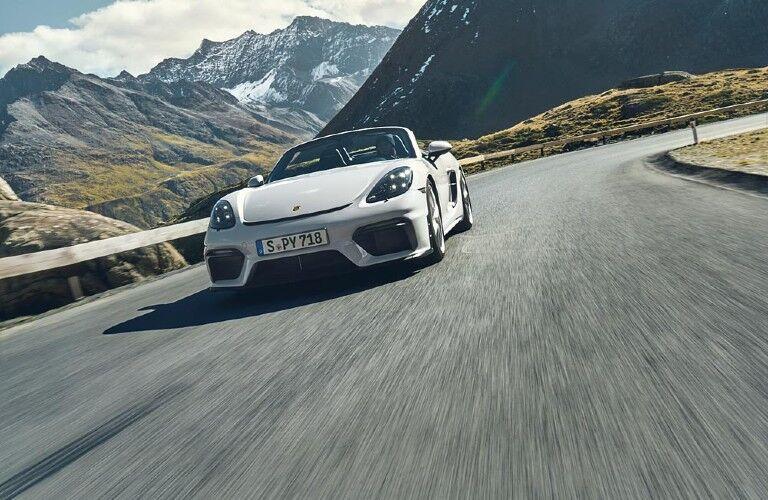 Front view of white 2021 Porsche 718 Spyder