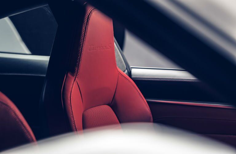 Closeup of seat in 2021 Porsche 911 Turbo S Cabriolet
