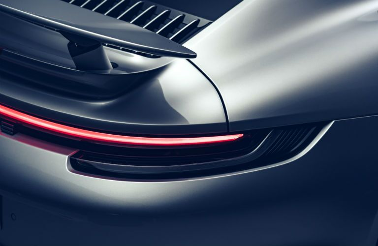 Closeup of taillight on 2021 Porsche 911 Turbo S Cabriolet