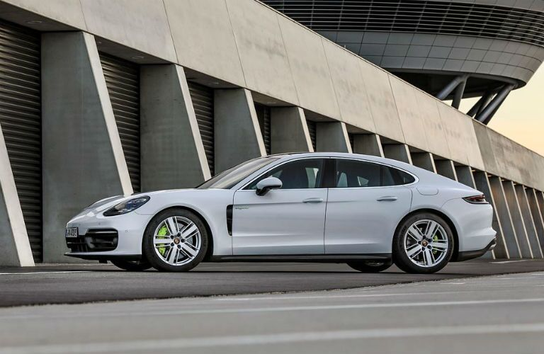 Side view of white 2021 Porsche Panamera