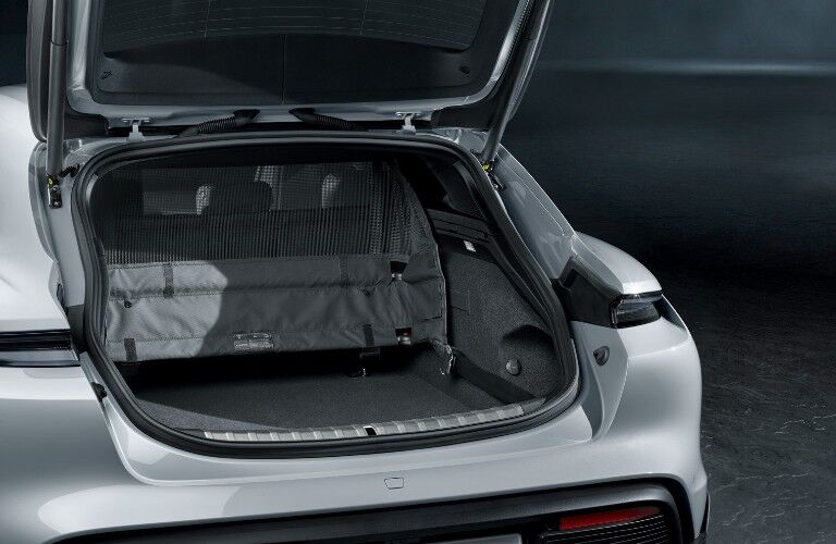 Open trunk of 2021 Porsche Taycan Cross Turismo