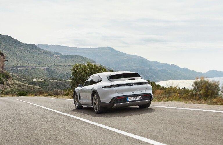 Rear view of 2021 Porsche Taycan Cross Turismo