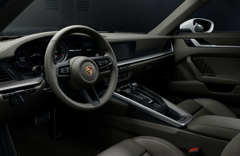 A photo of the driver's cockpit in the 2021 Porsche 911.