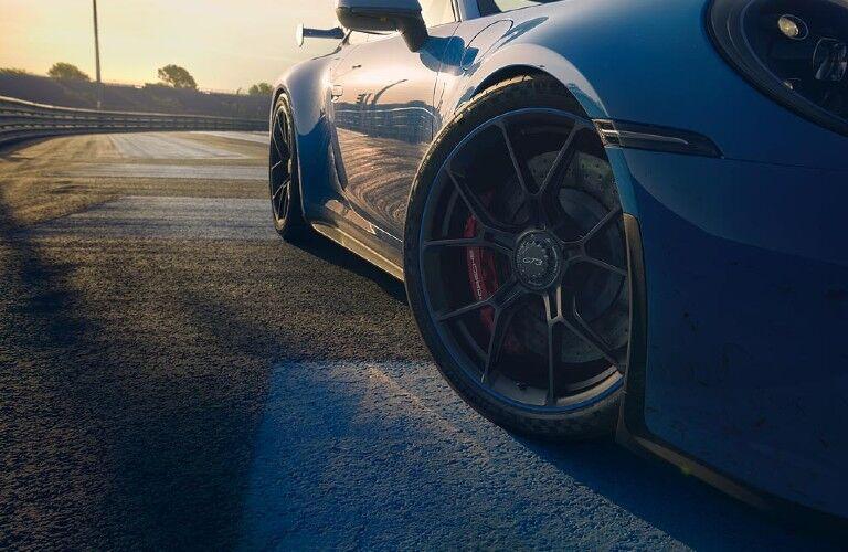 Closeup of wheel on 2022 Porsche 911 GT3
