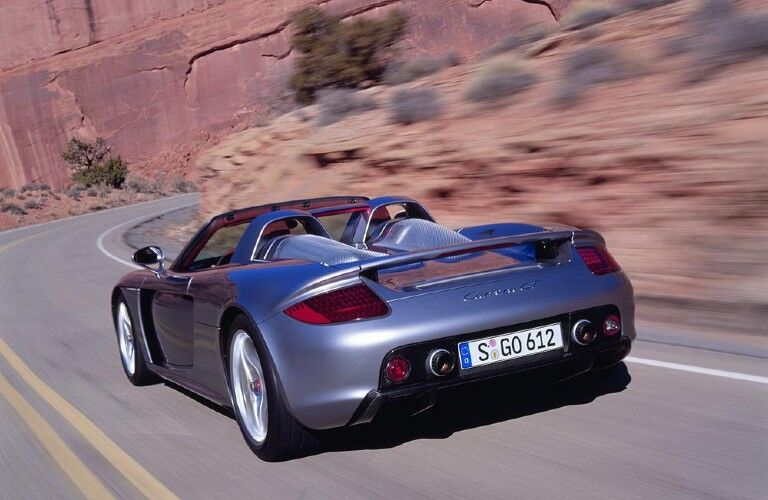 Rear view of gray Porsche Carrera GT