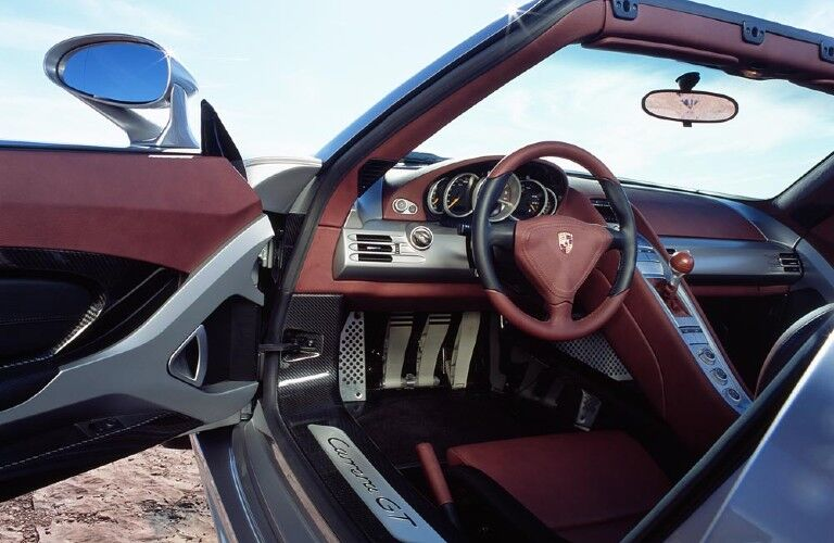 Interior view of Porsche Carrera GT
